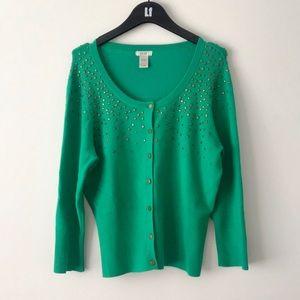 CACHE Green Studded Rib Detail Cardigan L NWOT